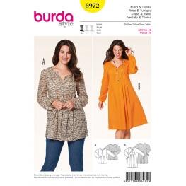 Patron robe & tunique femme grandes tailles - Burda 6972