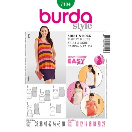 Patron t-shirt & jupe femme enceinte - Burda 7104