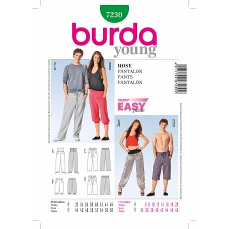 Patron de pantalon - pantacourt femme & homme - Burda 7230