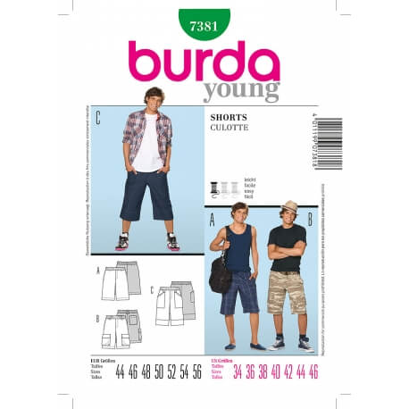 Patron short homme - Burda 7381
