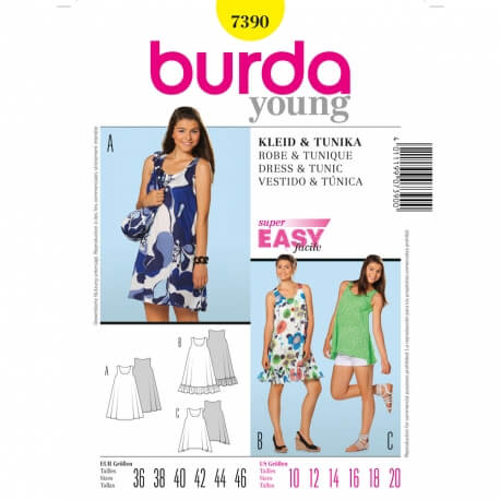 Patron robe & tunique - Burda 7390
