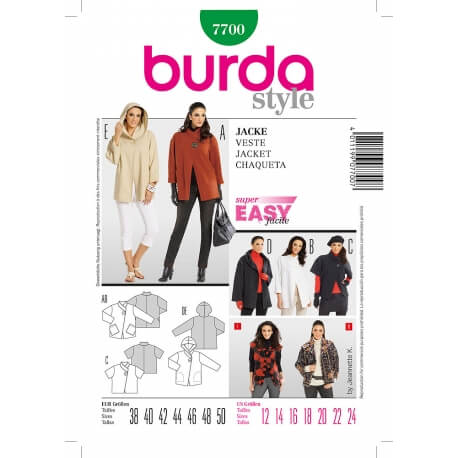 Patron veste femme - Burda 7700