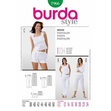 Patron de pantalon & short femme - Burda 7966