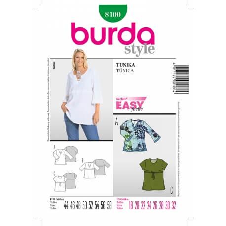 Patron tunique femme - Burda 8100