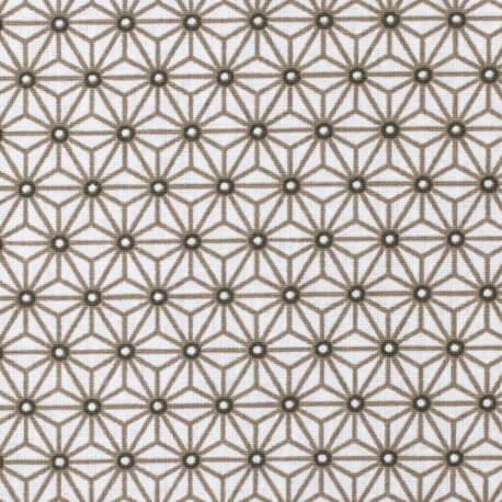 Tissu coton cretonne étoiles asanoha - Blanc & taupe