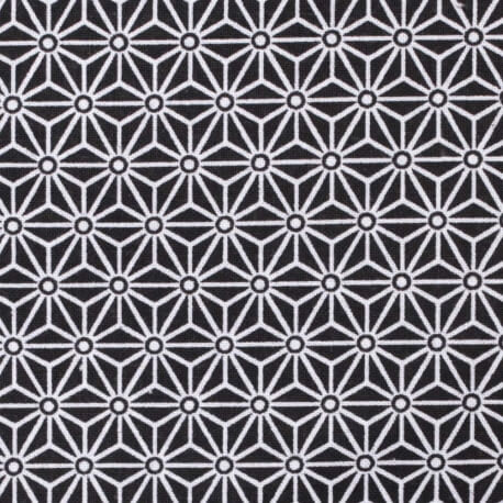 Tissu coton cretonne étoiles asanoha - Noir & blanc