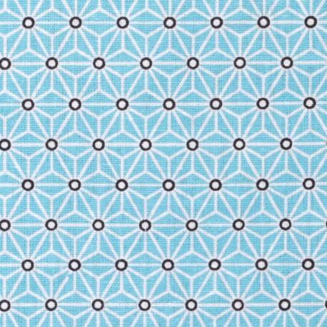 Tissu coton cretonne étoiles asanoha - Turquoise & blanc