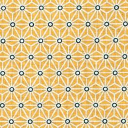 Tissu coton cretonne étoiles asanoha - Jaune & blanc