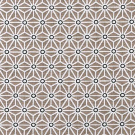 Tissu coton cretonne étoiles asanoha - Taupe & blanc