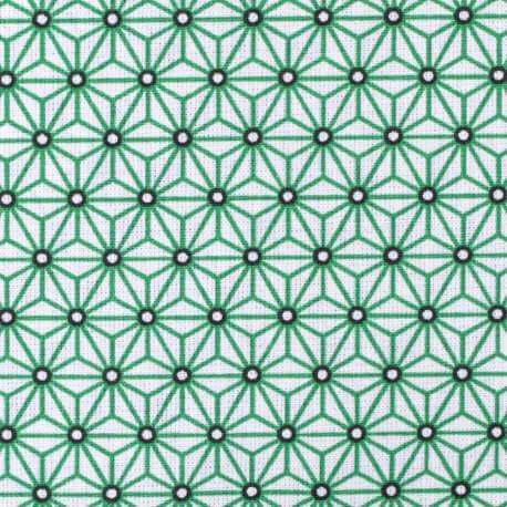 Tissu coton cretonne étoiles asanoha - Blanc & vert