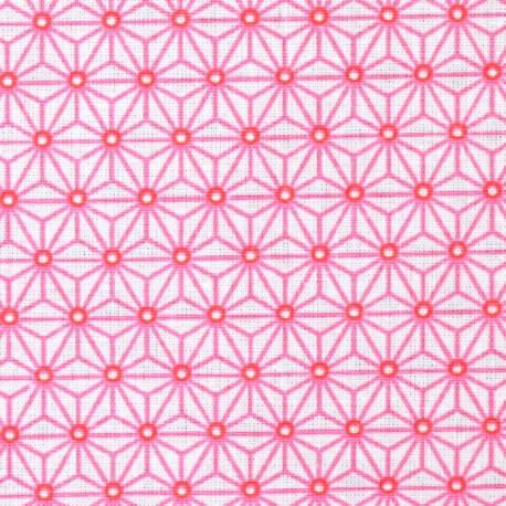 Tissu coton cretonne étoiles asanoha - Blanc & rose