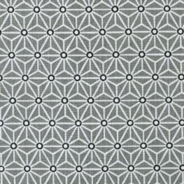 Tissu coton cretonne étoiles asanoha - Gris & blanc