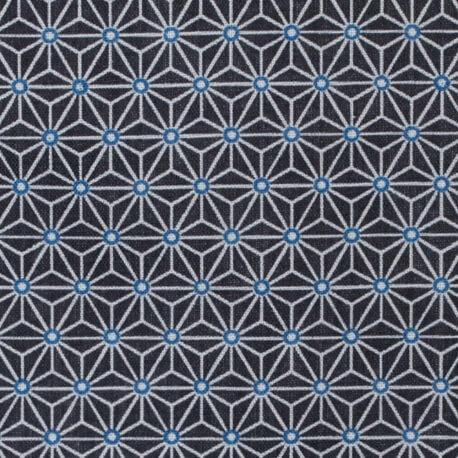 Tissu coton cretonne étoiles asanoha - Bleu indigo & gris