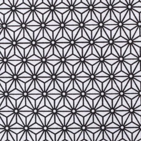Tissu coton cretonne étoiles asanoha - Blanc & noir