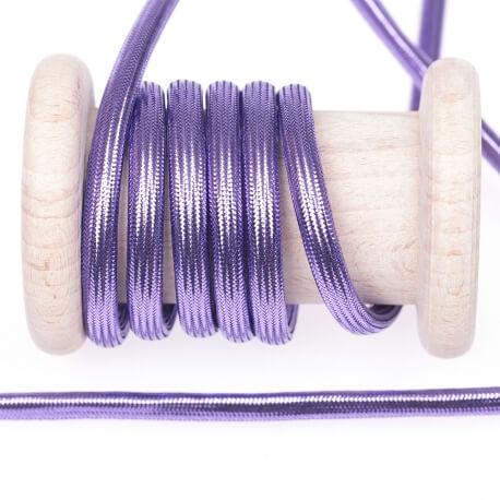 Cordelière lurex brillant tressée ronde 5 mm - Violet