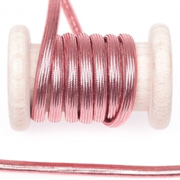 Cordelière lurex brillant tressée ronde 5 mm - Rose