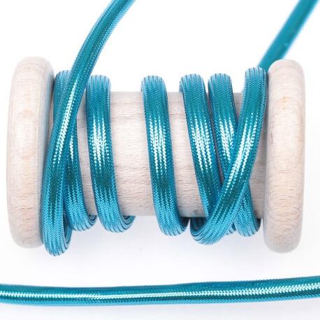 Cordelière lurex brillant tressée ronde 5 mm - Bleu
