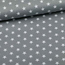 Tissu étoile blanche & gris