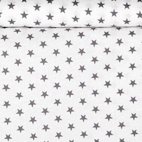Tissu étoile grise & blanc