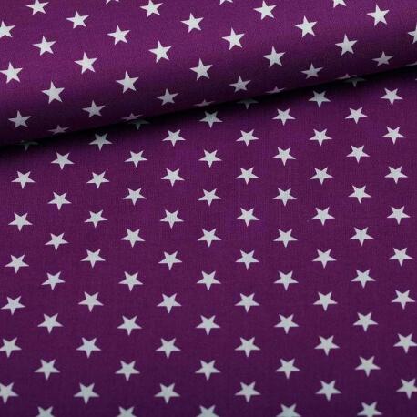 Tissu étoile blanche & violet
