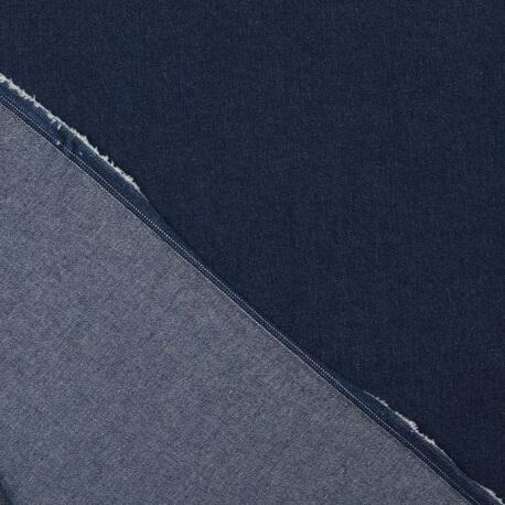 Tissu jean denim coton stretch uni bleu brut
