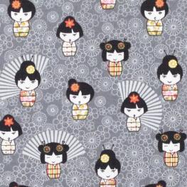 Tissu coton petite geisha manga - Gris