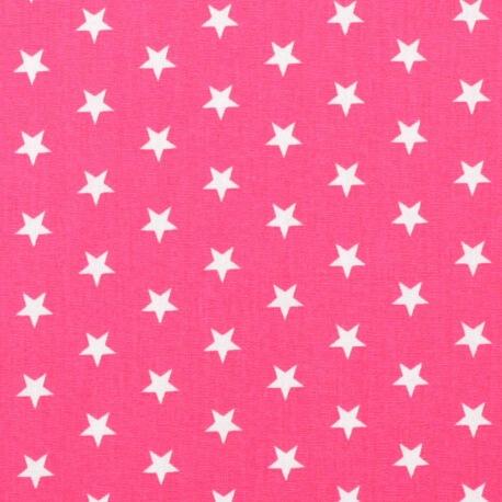 Tissu étoile blanche & rose fuchsia