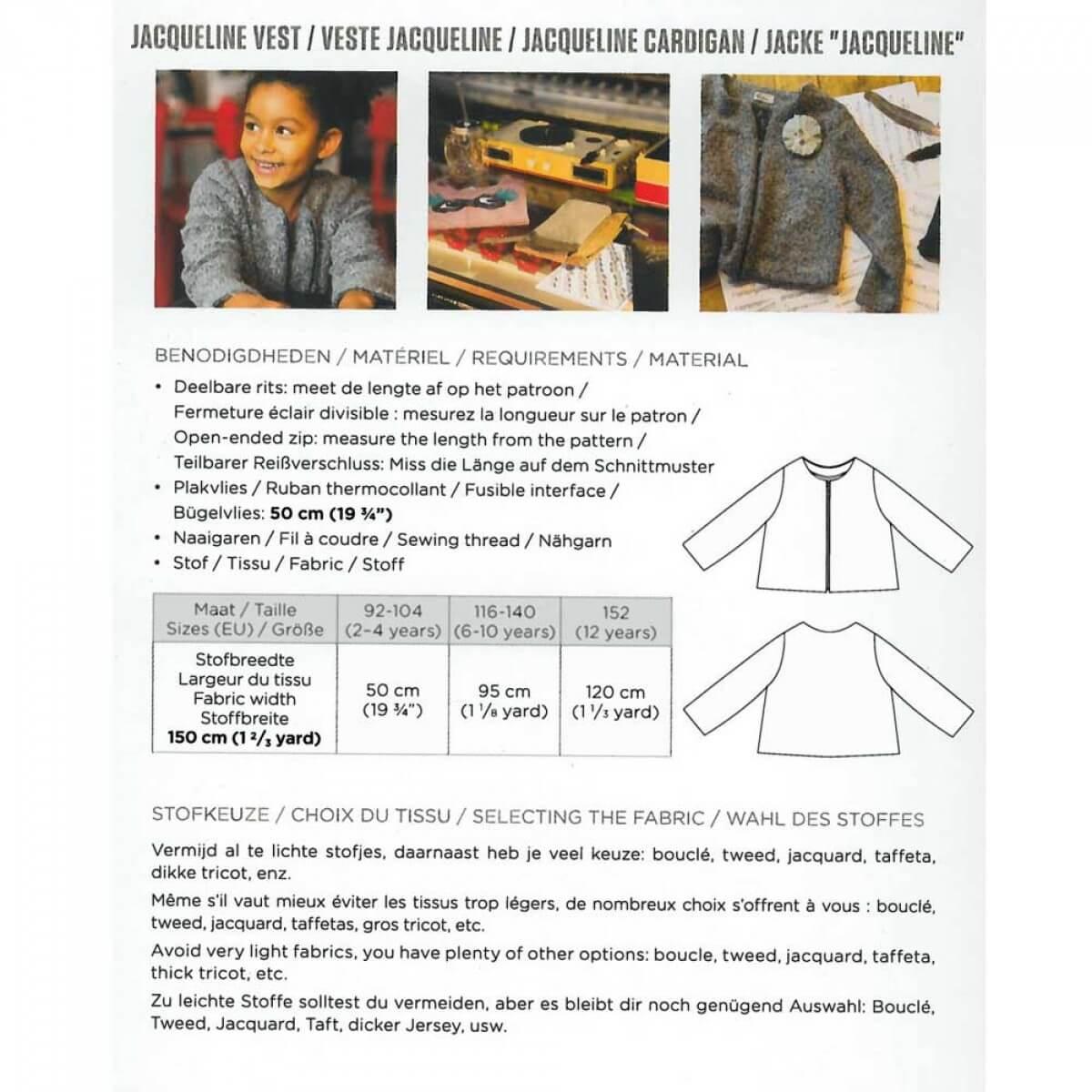 Patron veste enfant fille jacqueline de la maison victor for Modele maison victor