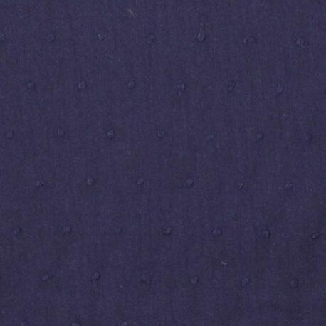 Tissu coton plumetis uni - Bleu marine