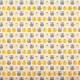 Tissu coton cretonne mini hiboux - Jaune & gris