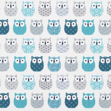 Tissu coton cretonne mini hiboux - Ivoire & bleu canard