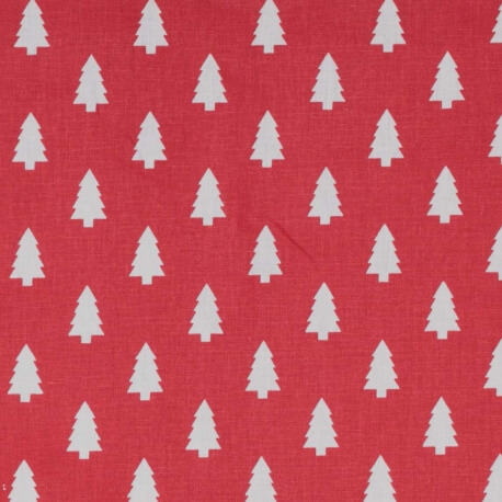 Tissu coton cretonne mini sapins - Rouge