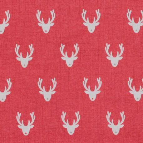 Tissu coton Noël rennes - Rouge