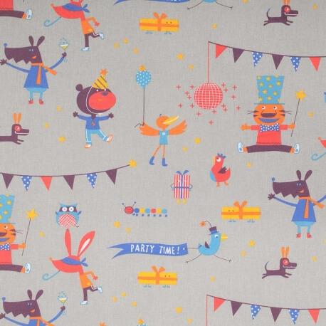 Tissu coton enfant party time - Gris