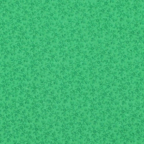 Tissu coton fleuri printemps - Vert classique