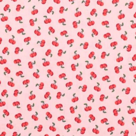 Tissu coton cerise - Rose