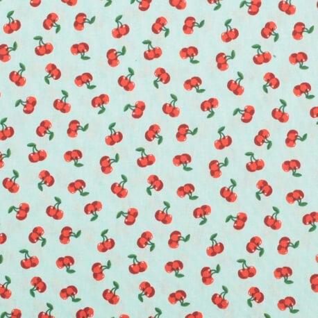Tissu coton cerise - Vert d'eau