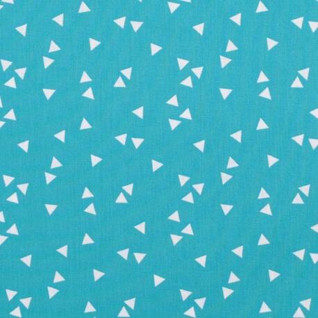 Tissu coton triangle - Turquoise