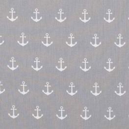 Tissu coton ancre marine - Gris