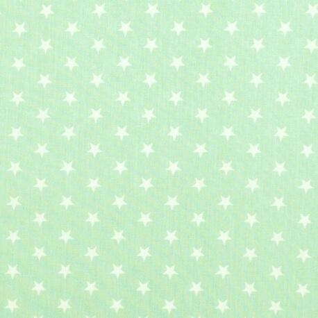 Tissu étoile blanche & vert d'eau