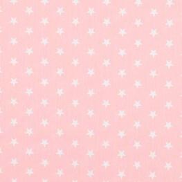 Tissu étoile blanche & rose bonbon