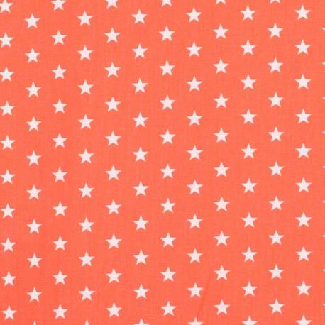Tissu étoile blanche & orange mandarine