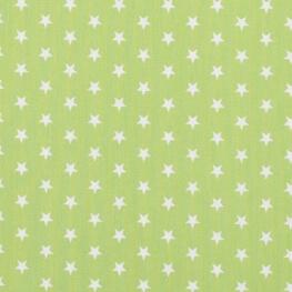 Tissu étoile blanche & vert pomme