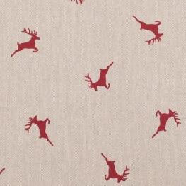 Tissu toile rennes - Rouge & naturel