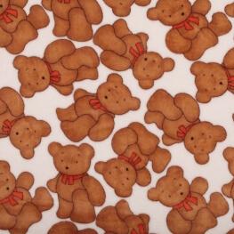 Tissu doudou enfant gros ourson - Blanc