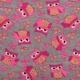 Tissu doudou enfant chouette rose - Gris