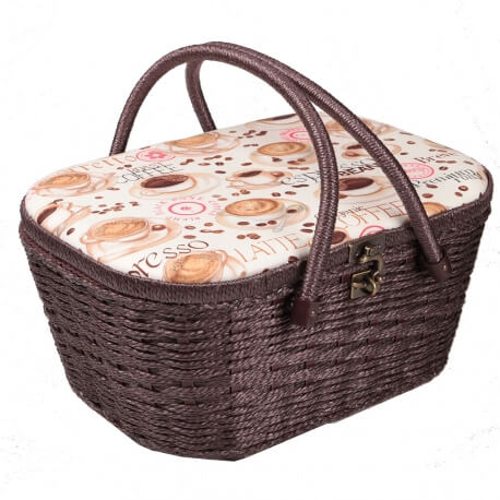 Coffret panier couture fantaisie coffee - Taille L
