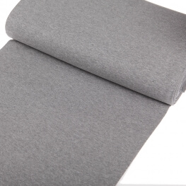 Tissu bord-côte tubulaire maille jersey - Gris chiné