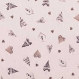 Tissu coton cretonne coeur d'hiver - Beige
