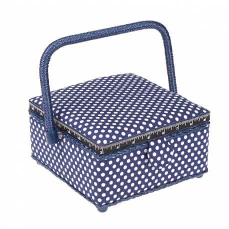Boite à couture carré bleu à pois blanc - Petite